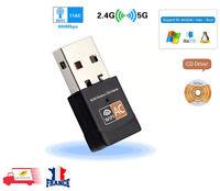 USB Clé WiFi Adaptateur 600Mbps 802.11ac Double Bande Dongles 5GHz 2.4GHz PC MAC