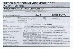 Ration de combat commando DDM 2023 MENU D1T
