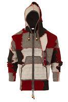 Woollen Jacket With Pixie Hood Fleece Lined Patchwork Hippie Nepal Hoodie Coat
