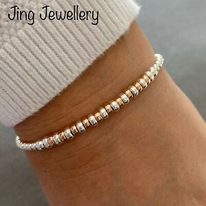 Rose Gold And Sterling Silver Beaded Stretch Stacking Bracelet, Silver 925