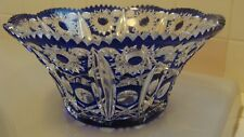 Vintage Original Hand Made Blue White BOHEMIA Glass Bowl/Vase, Czech Republic