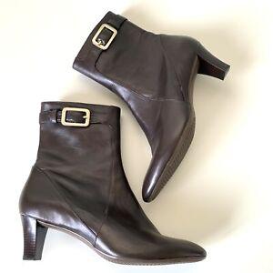 Cole Haan NIKEAir D28593 11B Chocolate BROWN Leather Calf Mid Heel Dress Boots