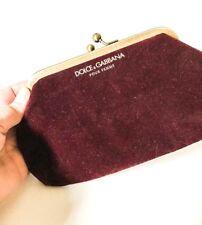 Dolce   Gabbana Pour Femme Dark Burgundy velvet makeup purse clutch 37fa021b8f628