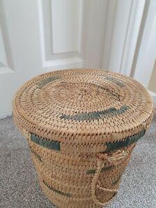 Cane Rattan Woven Vintage basket planter vintage Boho Tiki Indoor Storage Lid