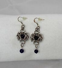 Handmade Natural Amethyst Stone Romanov Earrings Byzantine FREE SHIPPING