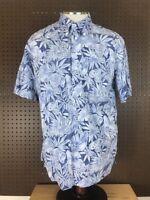 Hilo Hattie Vtg Mens Hawaiian Shirt Large Floral Aloha Flower Pullover Polo