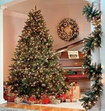 Pre-Lit Realistic Xmas Christmas Tree Frosted Pine Cone Berries Luxury 7FT