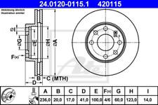 2 x ATE Bremsscheibe VA passend für diverse OPEL KADETT/KOM/ASCO-24.0120-0115.1