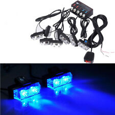 LED Blue Car Strobe Flash Lights Dash Front Grille Emergency Warning Beacon Kit