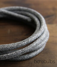 Italian coloured fabric lighting cable flex: Grey Jumper - sold per metre