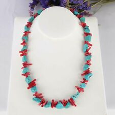 Red coral branch Turquoise Gemstone DIY handmade chain 15inches Elegant Gift