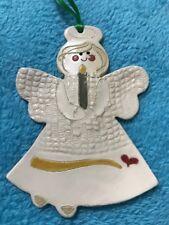 Mud Mothers Pottery Christmas Ornament Teddy Bear Elaine Lamb Medina Ohio