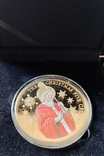More details for 2014 st nicholas christmas tdc gold layered with swarovski five crowns coin