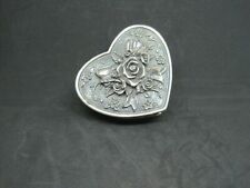 Vintage Pewter Heart Shaped Floral And Ribbon Trinket Box
