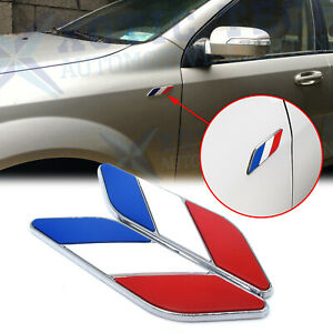 2Pcs Auto Body 3D Chrome Finish French France Flag Emblem Decal Badges Stickers