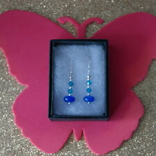 Beautiful Earrings With Sapphire & Crystal  2 Gr.2.5 Cm Long+Silver Hooks In Box