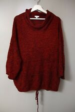 Pure J. Jill L Red Black Marled Sweater Top Kimono Tie Hem Tunic Soft Warm Cowl