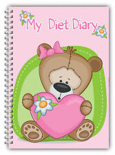 A5 MY DIET DIARY SLIMMING TRACKER FOOD DIARY WEIGHT LOSS JOURNAL PINK HRT BEAR