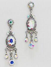 "2.5"" Long Silver Clear Aurora Borealis AB Austrian Crystal Drop Pageant Earrings"