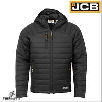 JCB Trade Mens Black Lightweight Showerproof Padded Jacket Puffer Coat Parka