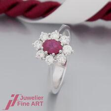 klassischer RING mit 1 Rubin und 8 Brillanten (Diamant) ges.ca.0,72ct-18K/750 WG