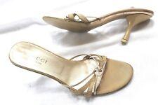 d4e31e697db Gucci Gold Fabric Evening Kitty Heels Slides Mules Sandals Size 8 1 2 B M