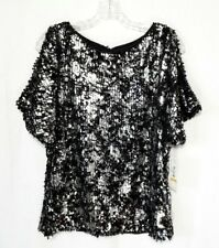 R&M Richards Sequin Blouse Womens Top S Small Black Silver Cold Shoulder LINED
