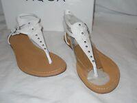 Aqua New Womens Famous White Leather Sandals 7.5 M Shoes NWB