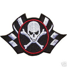 Skull Check Flag Biker Racing Embroidered Iron on Patch