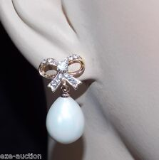 WEDDING BRIDAL GOLD BOW W.CLEAR CRYSTAL DROP PEARL EARRINGS