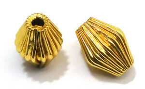 18 PCS 12X8MM OVAL CORRUGATED BEAD 18K GOLD PLATED 731 ABN-453