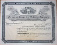 'Pecksport Connecting Railway/Railroad Company' 1890 Stock Certificate- New York