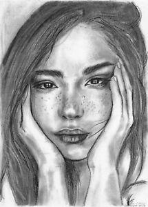 original drawing A3 75HO art samovar Realism Pastel female portrait Signed 2021