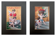 """2  x Original Mounted Antique Postcards """"Happy Christmas' & """"A Joyous New Year'"""