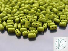 10g Czech Rulla Twin Beads Opaque Green