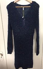 NWT- BCBG Generation -Blue/Multicolored Knit Crocheted Sweater Dress- Size XS