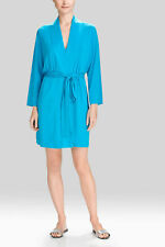 NEW NATORI $110 FEATHERS ESSENTIALS MODAL CARIBBEAN BLUE MIDI ROBE SZ SMALL 6-8