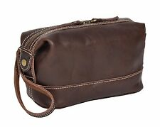 Wash Leather Bag Vintage Brown Zip Top Toiletry Shaving Kit Cosmetic Travel Bag