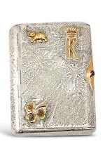 Imperial Russian Samorodok Silver Cigarette Case With Gold Ornaments ~ UNIQUE