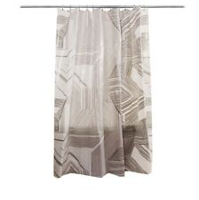 Room Essentials Shower Curtain In Gray Brown Broken Lines Abstract Pattern PEVA