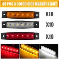 30X 12V 6LED Car Truck Trailer White Amber Red Side Marker Indicators Light Lamp