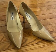 Jimmy Choo Vero Cuoio Camel Stiletto Leather Heels Pumps 37.5/7.5 - EUC