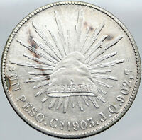 1903 Cn JQ MEXICO Large Eagle Sun Antique Mexican OLD Silver Peso Coin i87695