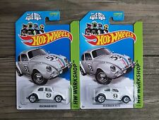 Hot Wheels VW Volkswagon Beetle Herbie the Love Bug Metal Toy Car Lot of 2 1/64