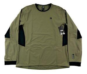 Mountain Hardwear Chockstone Hybrid Crew Shirt Mens Green Nylon Stretch Hiking