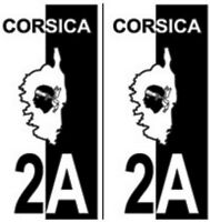 2 Stickers Adhésif Plaque Immatriculation Logo Haute Corse 2A