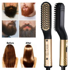 Mens Electric Quick Beard Hair Straightener Brush Comb Flat Curling Iron Styling
