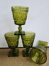 4 Set Vintage Green Thumbprint Wine Depression Cut Glasses Goblets Mid Century