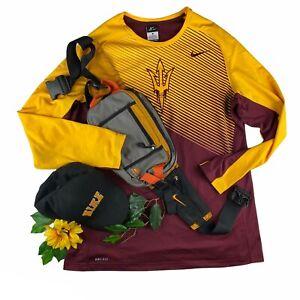 Men's Nike Dri-Fit ASU Arizona State Sun Devils Long Sleeve Embroidered Shirt XL
