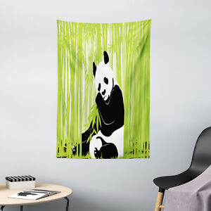 Animal Tapestry Panda in Bamboo Forest Print Wall Hanging Decor